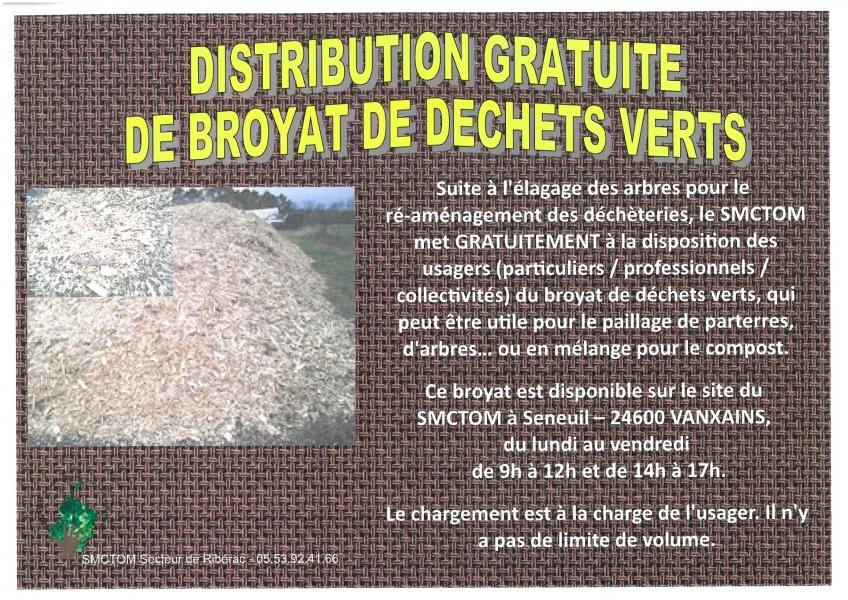 Affiche - Distribution de broyat de déchets vert mars 2016
