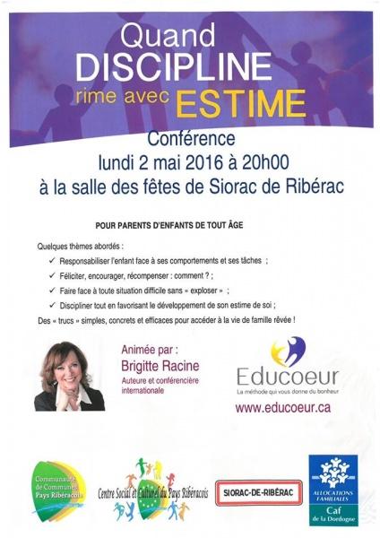 Conférence Educoeur 02.05.2016 - Quand la discipline rime avec Estime