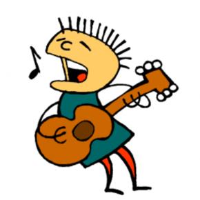 Chanteur avec guitard