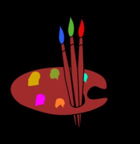 pinceau + palette de couleur