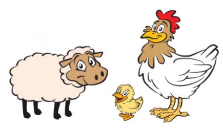 Mouton, coq et poussin
