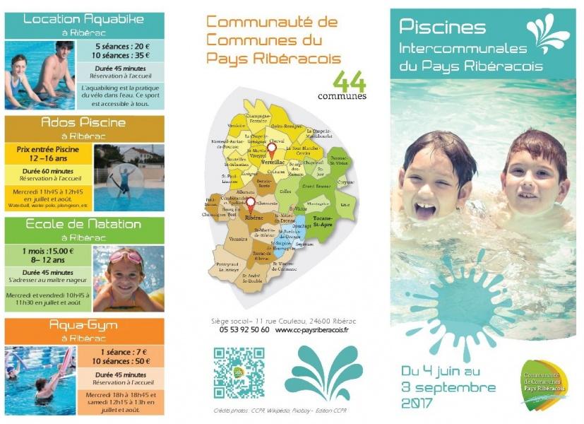 Ouverture des piscines intercommunales de rib rac et for Plaquette piscine